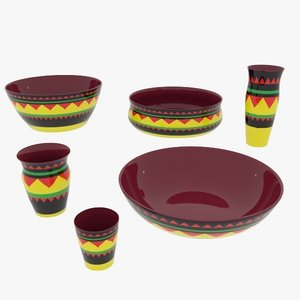 3d pottery african design - model