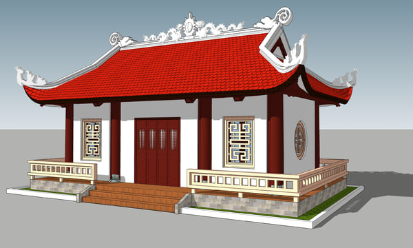 3d model of house monks mountains