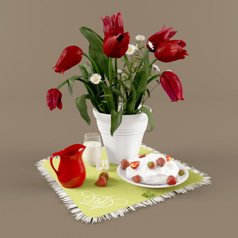 3dsmax kitchen tulips