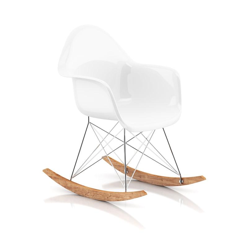 white plastic rocking chair 3d model
