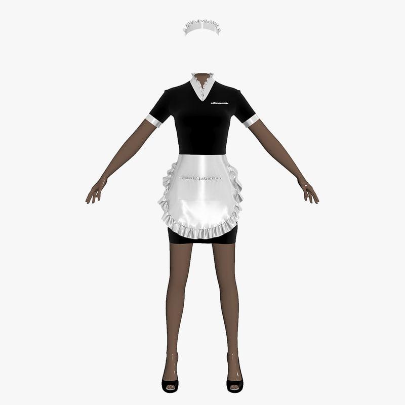 3d maid uniform female girl