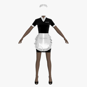 3d maid uniform female girl