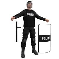 3dsmax riot police officer