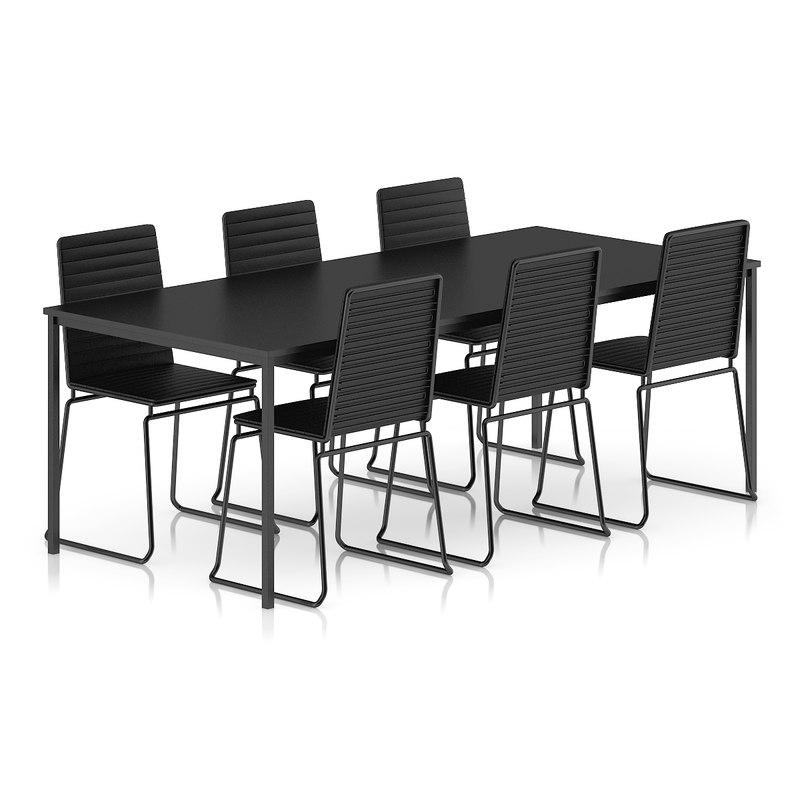 black table chairs set 3d c4d