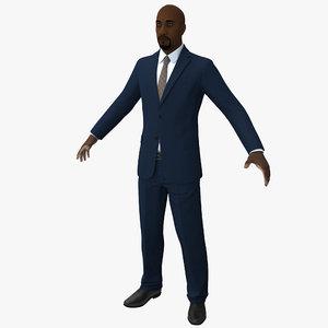 3d black male businessman