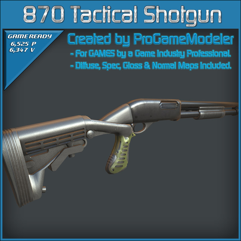 remington 870 tactical shotgun 3d 3ds