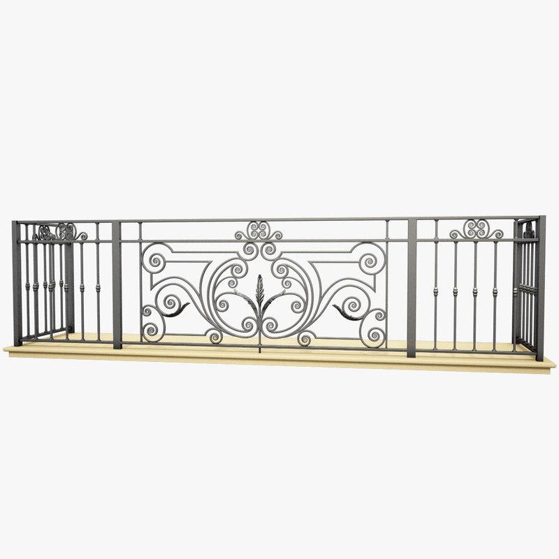 wrought iron balcony 3d max