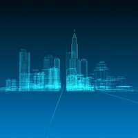 abstract wireframe cityscape 3d 3ds