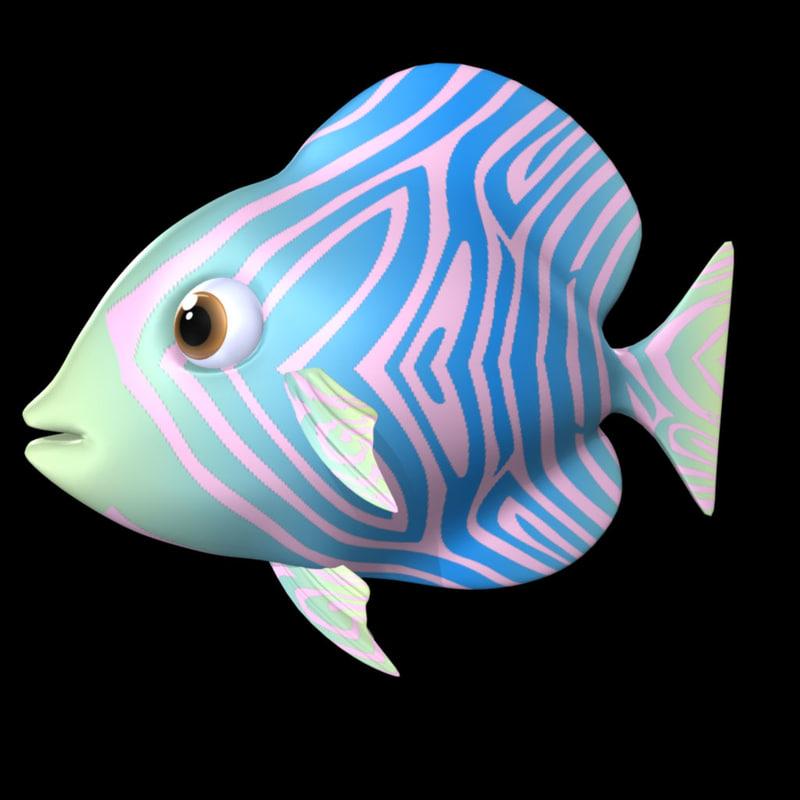 3d royal blue fish model