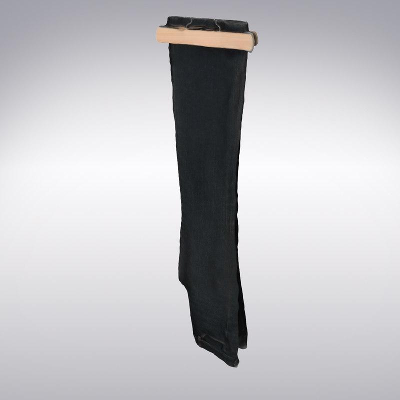 3d black denim scanning model