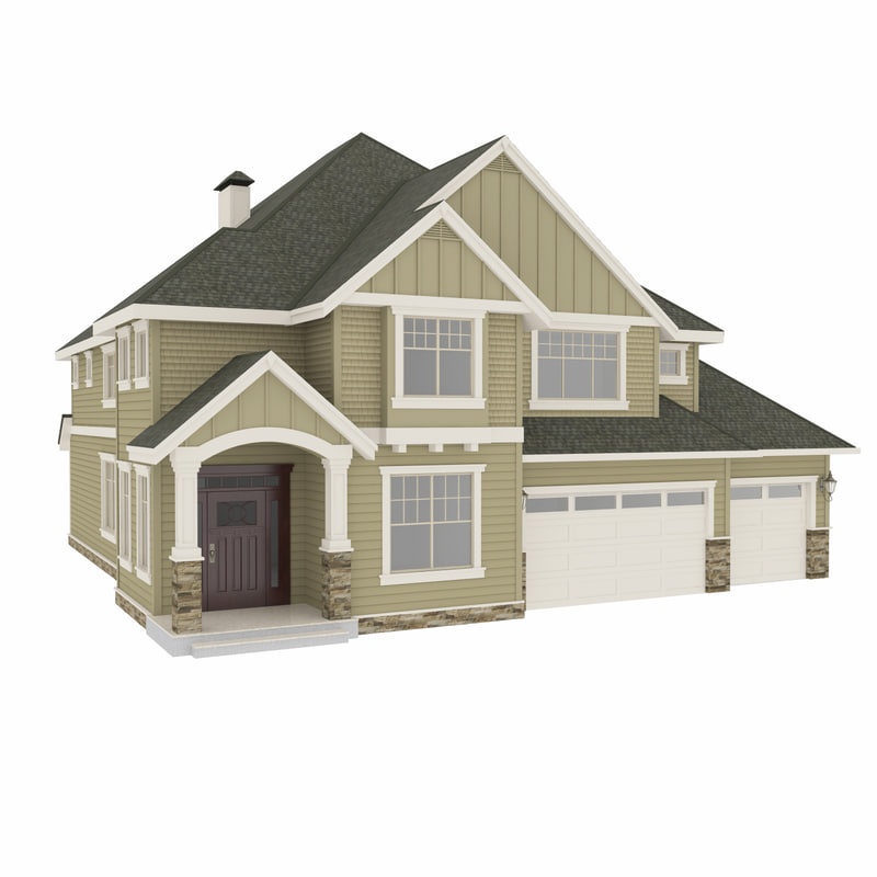 American house 2 3d obj for House designs 3d model