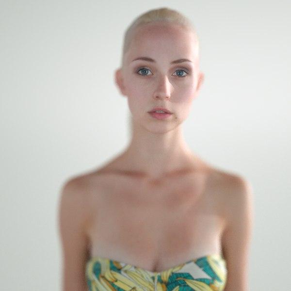 blond girl bust obj