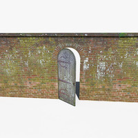 Low Poly Ancient Brick Wall with Wooden Door