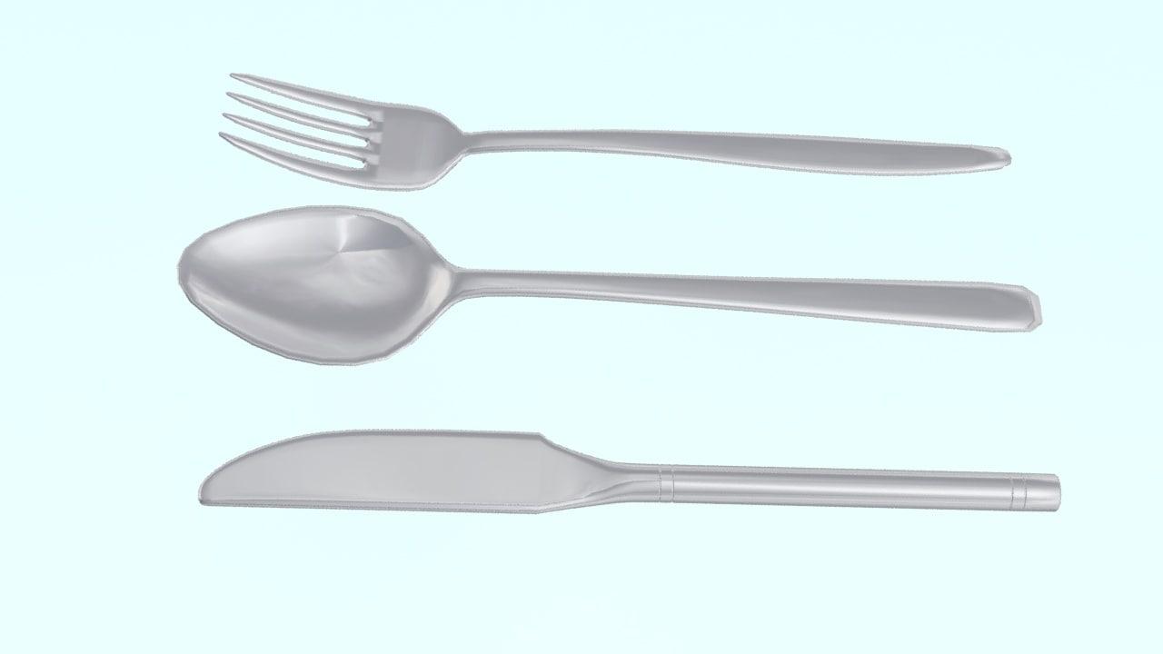 knife fork spoon obj
