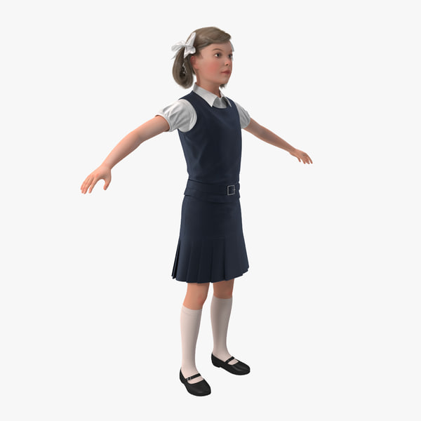 3d little school girl rigged