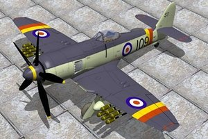 hawker sea fury fighters 3d model