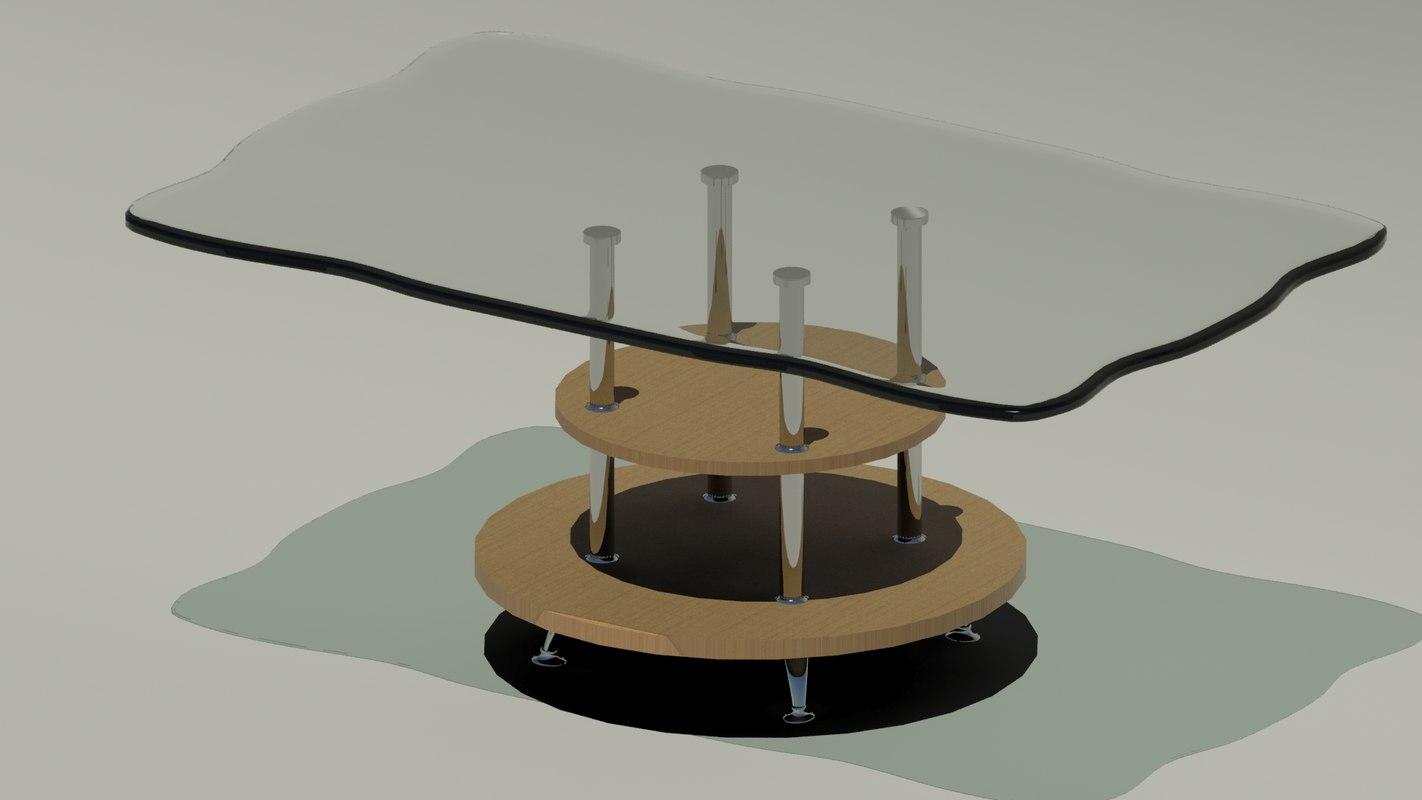 3d glass tea table model
