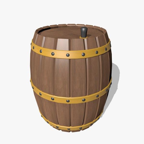 wooden barrel obj