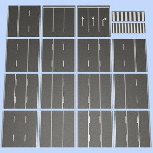 3d model of road mht-01 3 lane