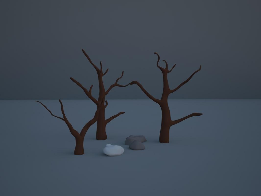 3d model trees stones