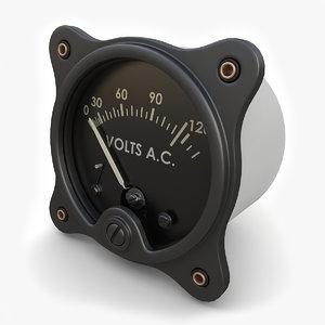 vintage ac voltmeter 3ds