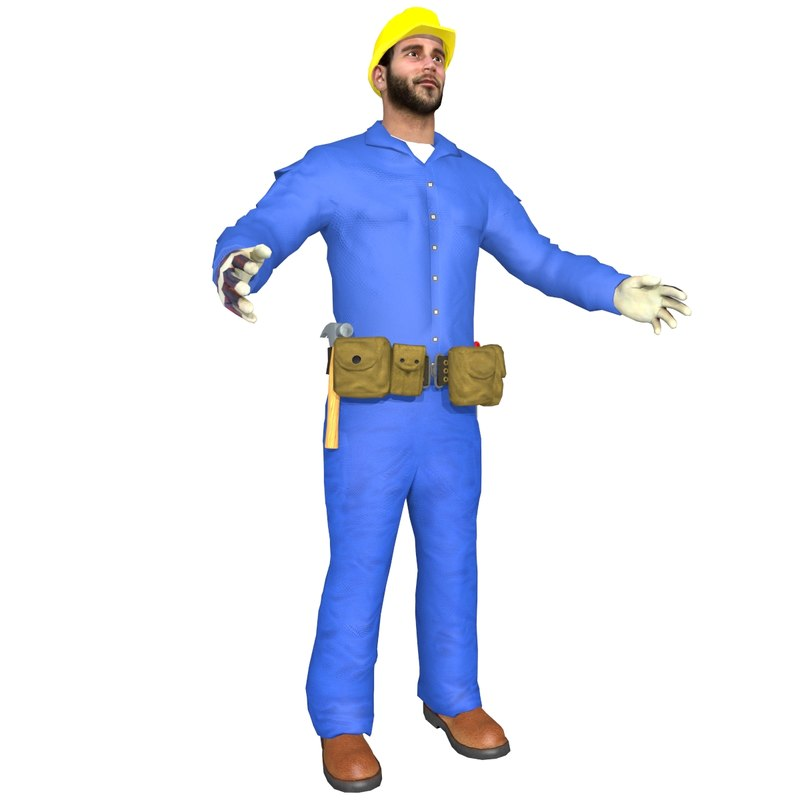 3d construction worker man model
