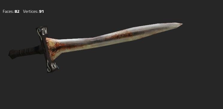 3d sword old damaged