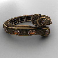 3d antique gold snake bracelet model