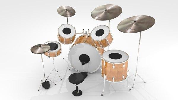 3d model drum natural wood