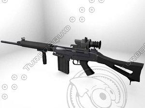 3d model fnfal rifle