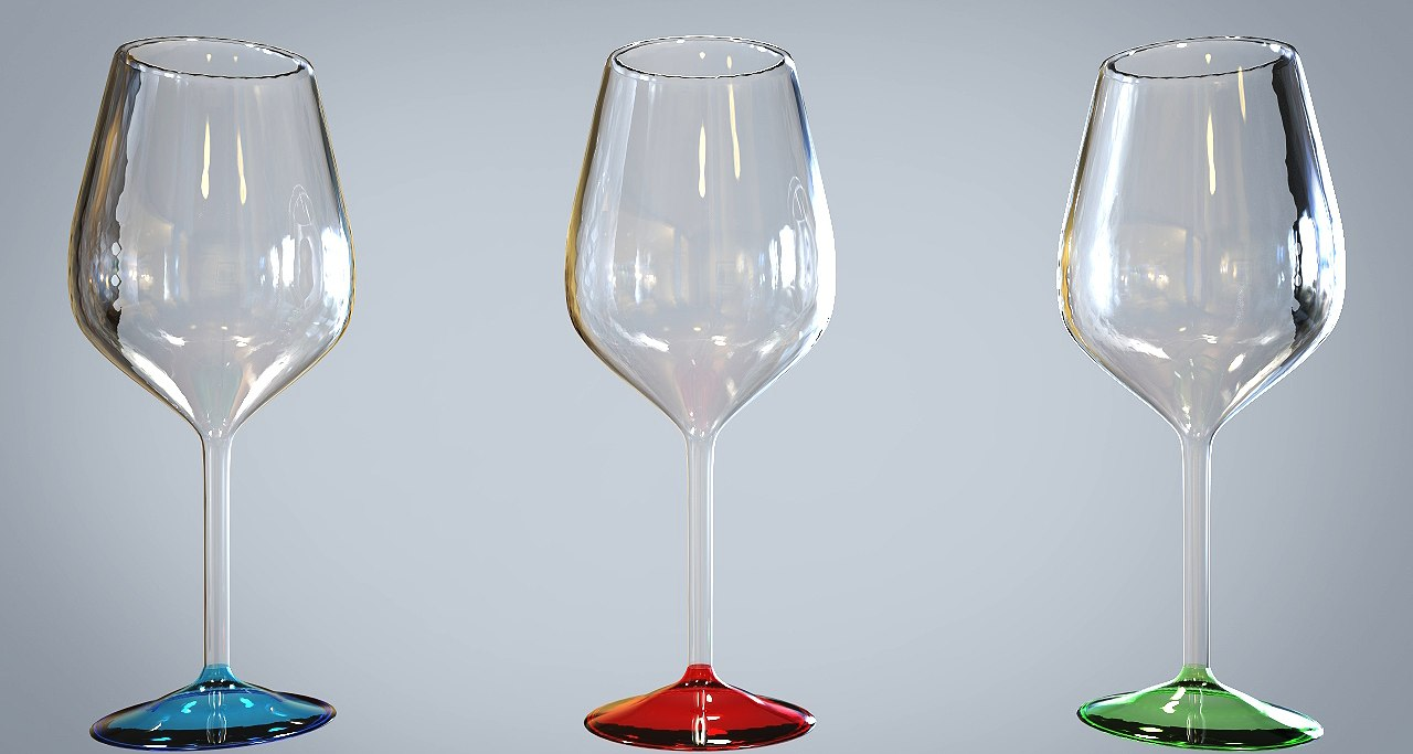 colorful glasses red wine 3d max