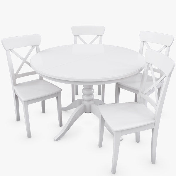 Modello 3d Set Di Tavolo Ikea Liatorp E Sedie Ingolf Turbosquid 818187