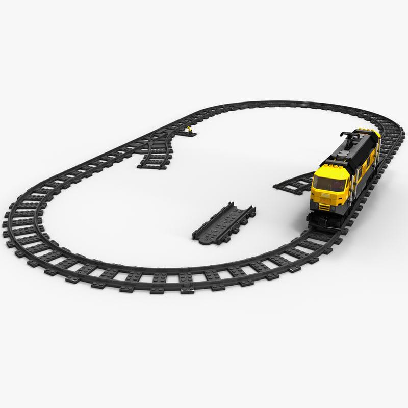3d lego train set model