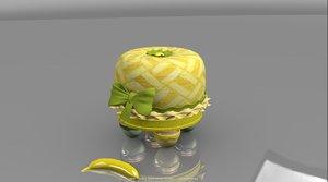 3d model children stool fruit fruffet