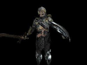 3d skeletal warrior model
