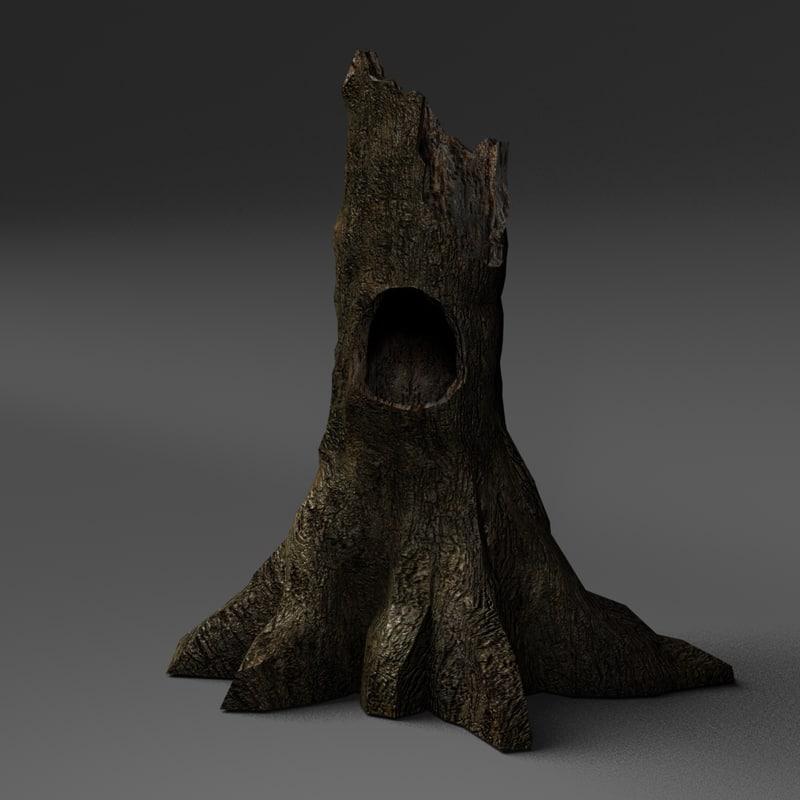 obj hollow forest tree stump