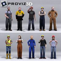 3d model people: workers people