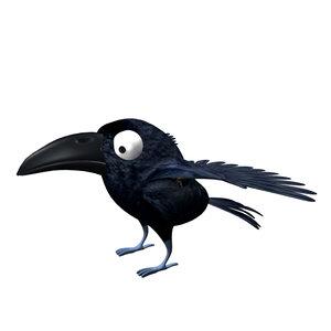 3d crow bird model