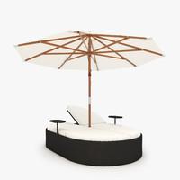 Nagoya Garden rattan chaise with umbrella