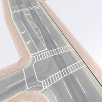 3d city crossroad highways