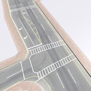 3d city crossroad highways