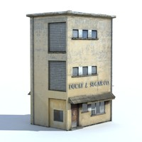 Old Store Building Low poly Baked