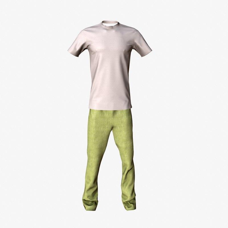 3d t-shirt pants model