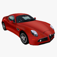 3d low-poly alfa romeo 8c model