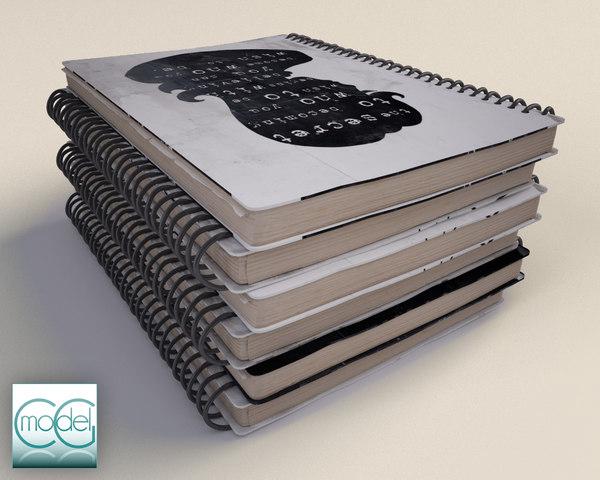 notebook book 3d model