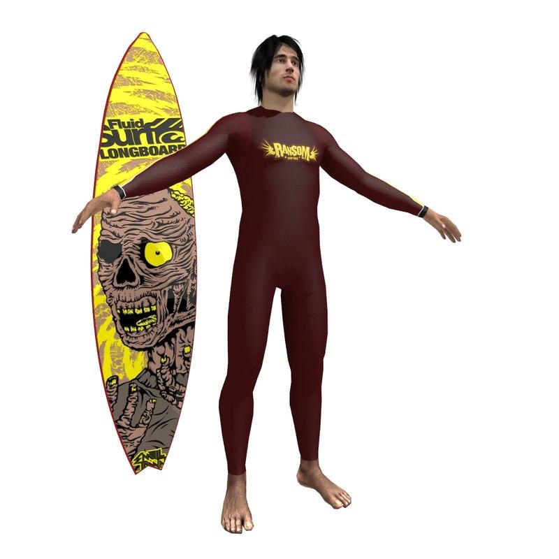 3dsmax surfer surfing man