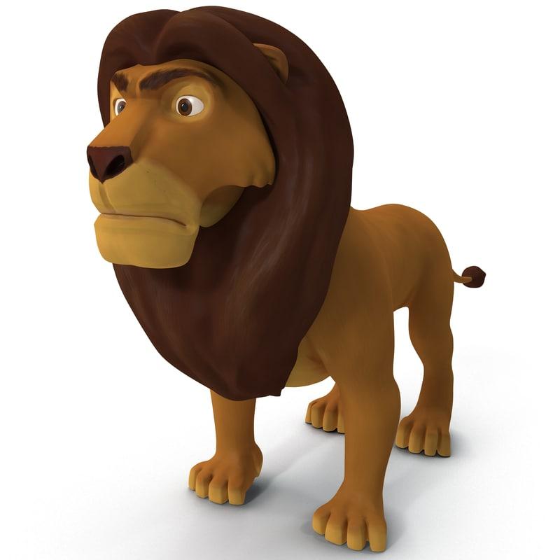 3d model lion cartoon