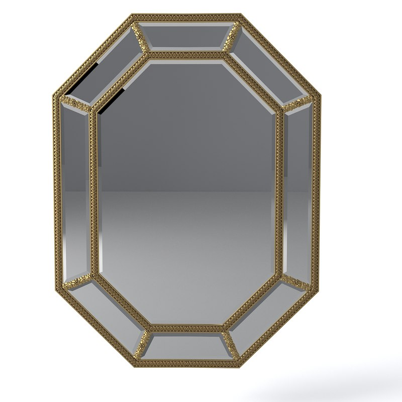 3d model louvre wall mirror pu