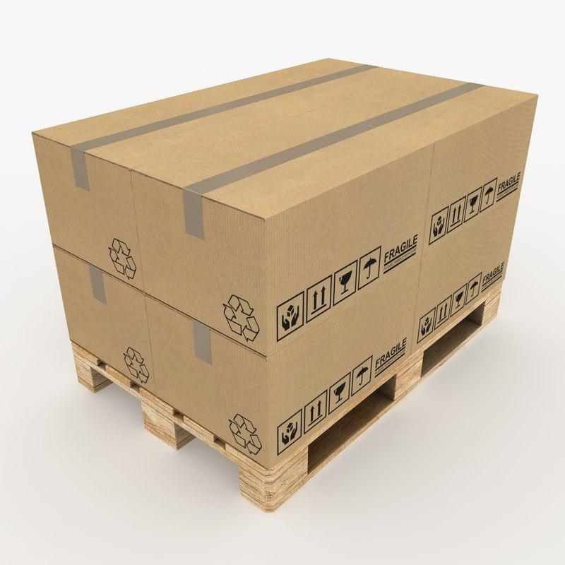 3ds max realistic pallet boxes