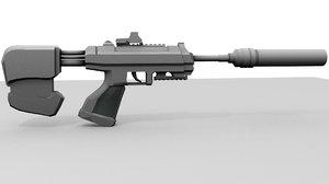 sci-fi sub machine gun obj free